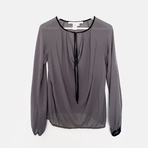 MAX STUDIO sheer grey bell sleeve blouse